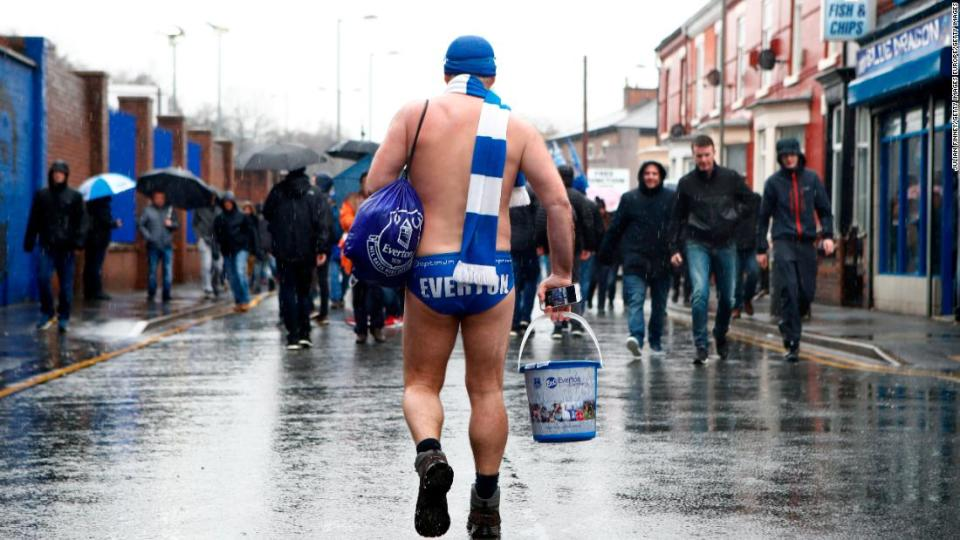 "<p>Cullen has been wearing his Speedo's and shaking his bucket at Everton matches to raise money for charity for years now.</p><div class=""cnn--image__credit""><em><small>Credit: Julian Finney/Getty Images Europe/Getty Images / Getty Images</small></em></div>"