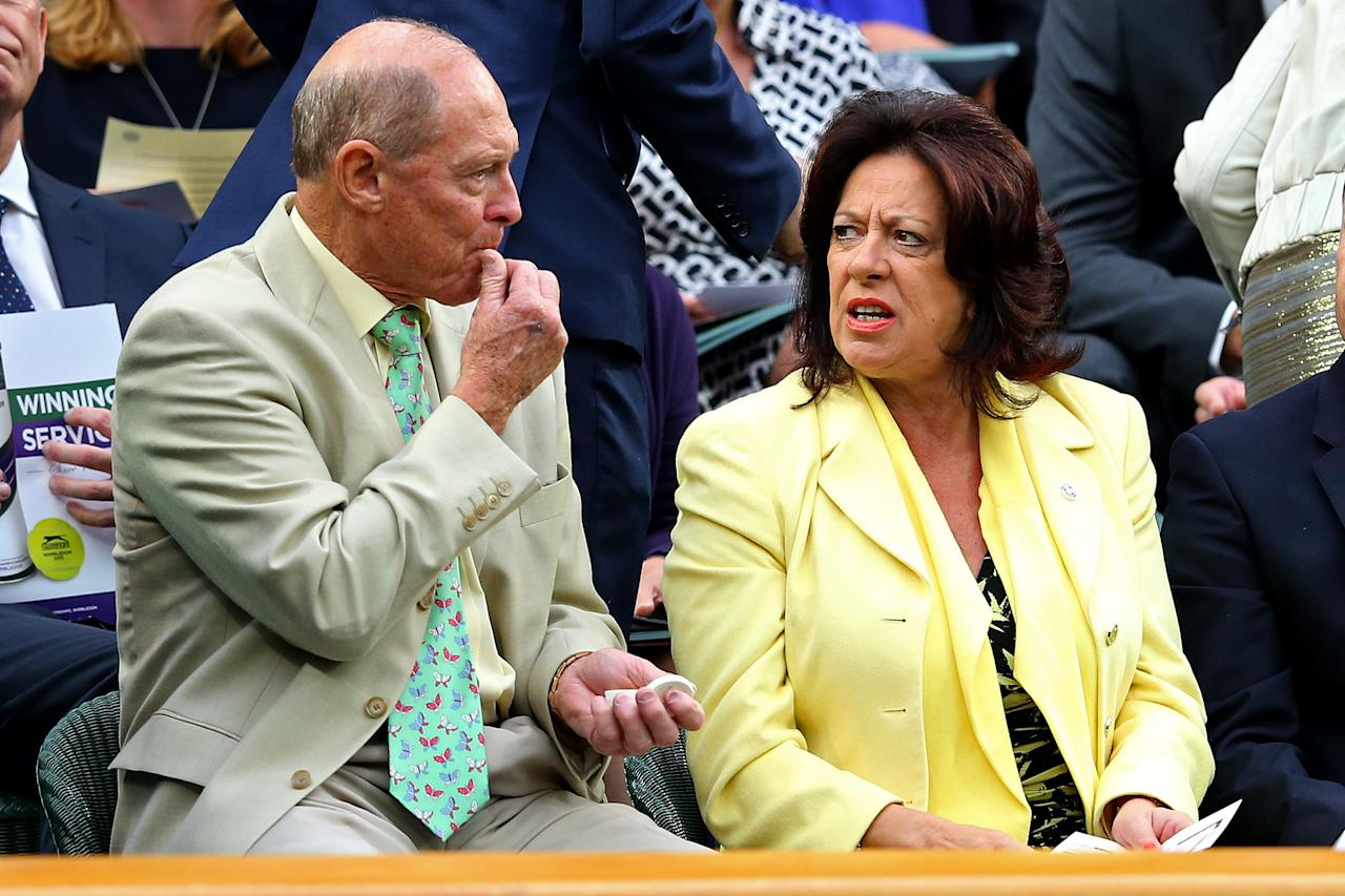 LONDON, ENGLAND - JUNE 28: Geoffrey Boycott (L) and his wife Rachael (R) chat in the Royal Box on day five of the Wimbledon Lawn Tennis Championships at the All England Lawn Tennis and Croquet Club on June 28, 2013 in London, England. (Photo by Julian Finney/Getty Images)