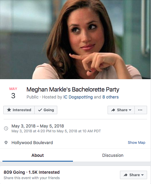 There is also an invite to Meghan's bachelorette doing the rounds. Photo: Facebook