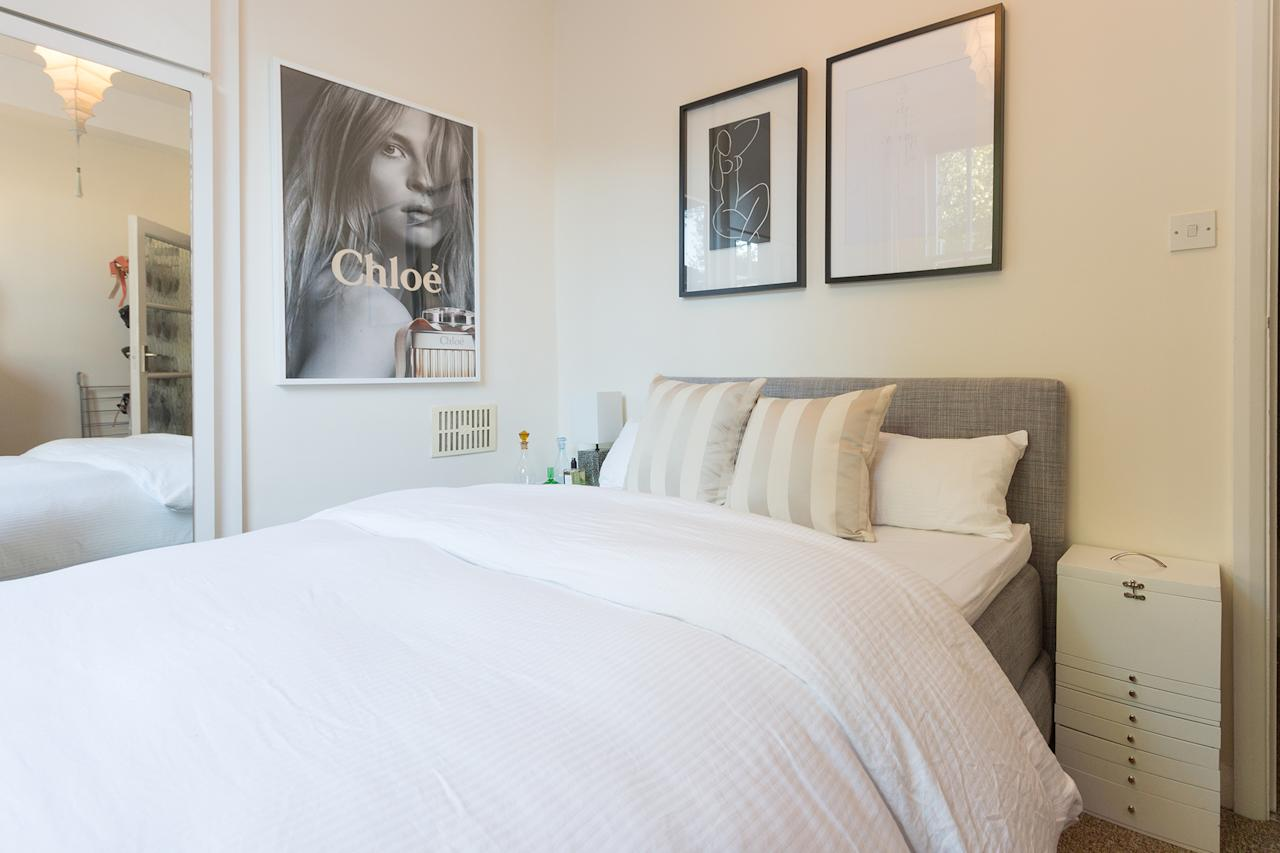<p>The cozy and quiet one-bed flat has a king-size bed, private backyard access and private parking. </p>