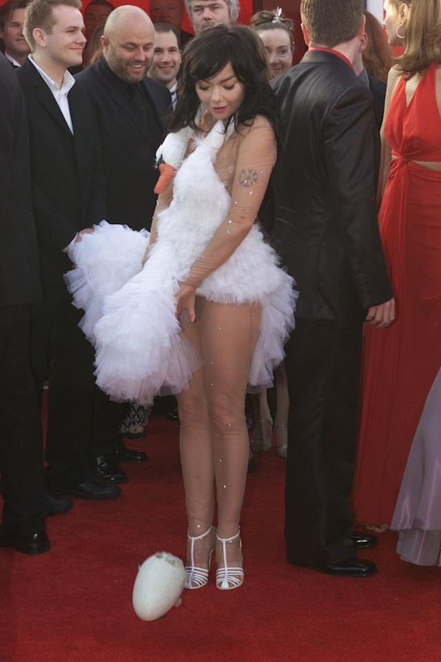 "<p>People were stunned when Björk walked the red carpet in a frilly swan dress-and even more so when she strategically ""laid"" six ostrich eggs on the red carpet. The now <a rel=""nofollow"" href=""http://www.independent.co.uk/life-style/fashion/features/bjork-s-infamous-swan-dress-is-now-honoured-at-moma-museum-almost-15-years-later-10110915.html"">infamous dress</a> is honored in the Museum of Modern art. </p>"
