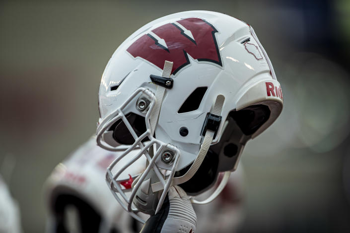 MADISON, WI - OCTOBER 05: A Wisconsin Badger helmet is raised prior to kickoff durning a college football game between the Kent State Golden Flashes and the Wisconsin Badgers on October 5, 2019, at Camp Randall Stadium in Madison, WI. (Photo by Dan Sanger/Icon Sportswire via Getty Images)