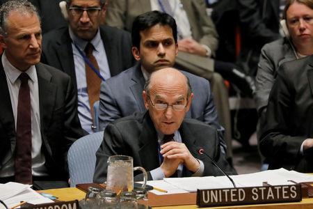 United States diplomat Elliott Abrams speaks during a meeting of the U.N. Security Council called to vote on a U.S. draft resolution calling for free and fair presidential elections in Venezuela at U.N. headquarters in New York, U.S., February 28, 2019. REUTERS/Lucas Jackson
