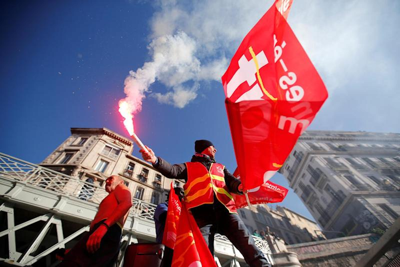 French unions stage new pension protests on sixth day of crippling strike