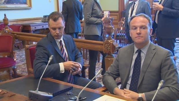 Irving Oil executive Andy Carson, right, at a legislature committee hearing into industrial property tax issues in 2019.   (Ed Hunter/CBC - image credit)