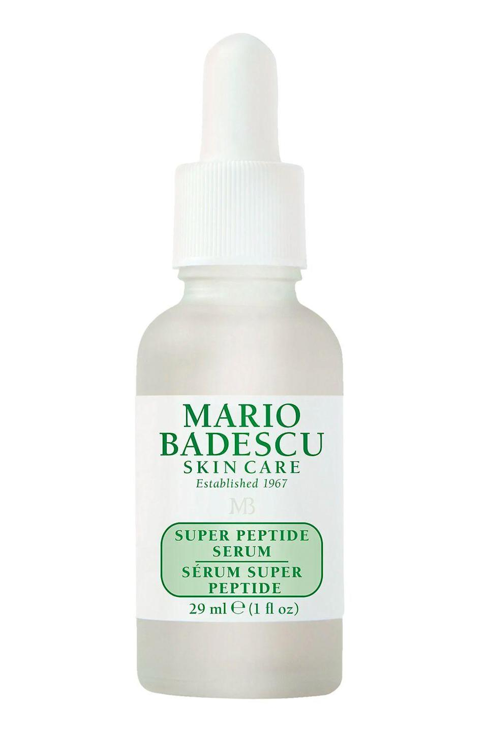 "<p><strong>Mario Badescu</strong></p><p>mariobadescu.com</p><p><strong>$45.00</strong></p><p><a href=""https://www.mariobadescu.com/product/super-peptide-serum"" rel=""nofollow noopener"" target=""_blank"" data-ylk=""slk:Shop Now"" class=""link rapid-noclick-resp"">Shop Now</a></p><p>This face <a href=""https://www.cosmopolitan.com/style-beauty/beauty/g25360983/best-face-serum/"" rel=""nofollow noopener"" target=""_blank"" data-ylk=""slk:serum"" class=""link rapid-noclick-resp"">serum</a> is a great option for anyone who wants to dip their toe into the world of anti-aging skincare. It uses collagen-boosting peptides, plumping hyaluronic acid, and conditioning plant extracts to smooth fine lines and wrinkles with continued use.</p><p><strong>✨PROMOTION:</strong> Get 30 percent off with the code HAULIDAY</p>"