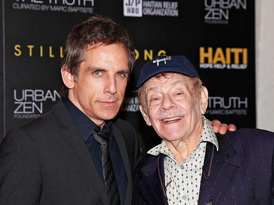 """<p>Beloved comedian and <em>Seinfeld </em>star Jerry Stiller was the father to actor Ben Stiller. """"He was a great dad and grandfather, and the most dedicated husband to Anne for about 62 years,"""" wrote Ben about the recent loss of his father. """"He will be greatly missed. Love you Dad.""""</p>"""