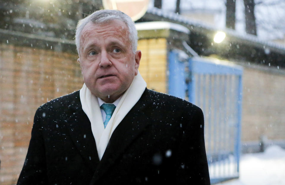 FILE - In this file photo taken on Thursday, Jan. 30, 2020, U.S. Ambassador to Russia John Sullivan speaks to the media after visiting Paul Whelan, a former U.S. marine who was arrested for alleged spying in Moscow, Russia. Sullivan said he was heading home for consultations and would return to Moscow in the nearest weeks. (AP Photo/Alexander Zemlianichenko Jr, File)