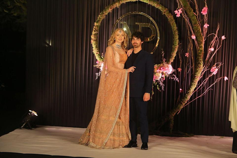 """<p>Looking divine in New Delhi, India to celebrate Jonas' brother <a href=""""https://www.elle.com/uk/life-and-culture/g28244250/nick-jonas-priyanka-chopra-best-pictures/"""" rel=""""nofollow noopener"""" target=""""_blank"""" data-ylk=""""slk:Nick's wedding to Priyanka Chopra."""" class=""""link rapid-noclick-resp"""">Nick's wedding to Priyanka Chopra.</a></p>"""