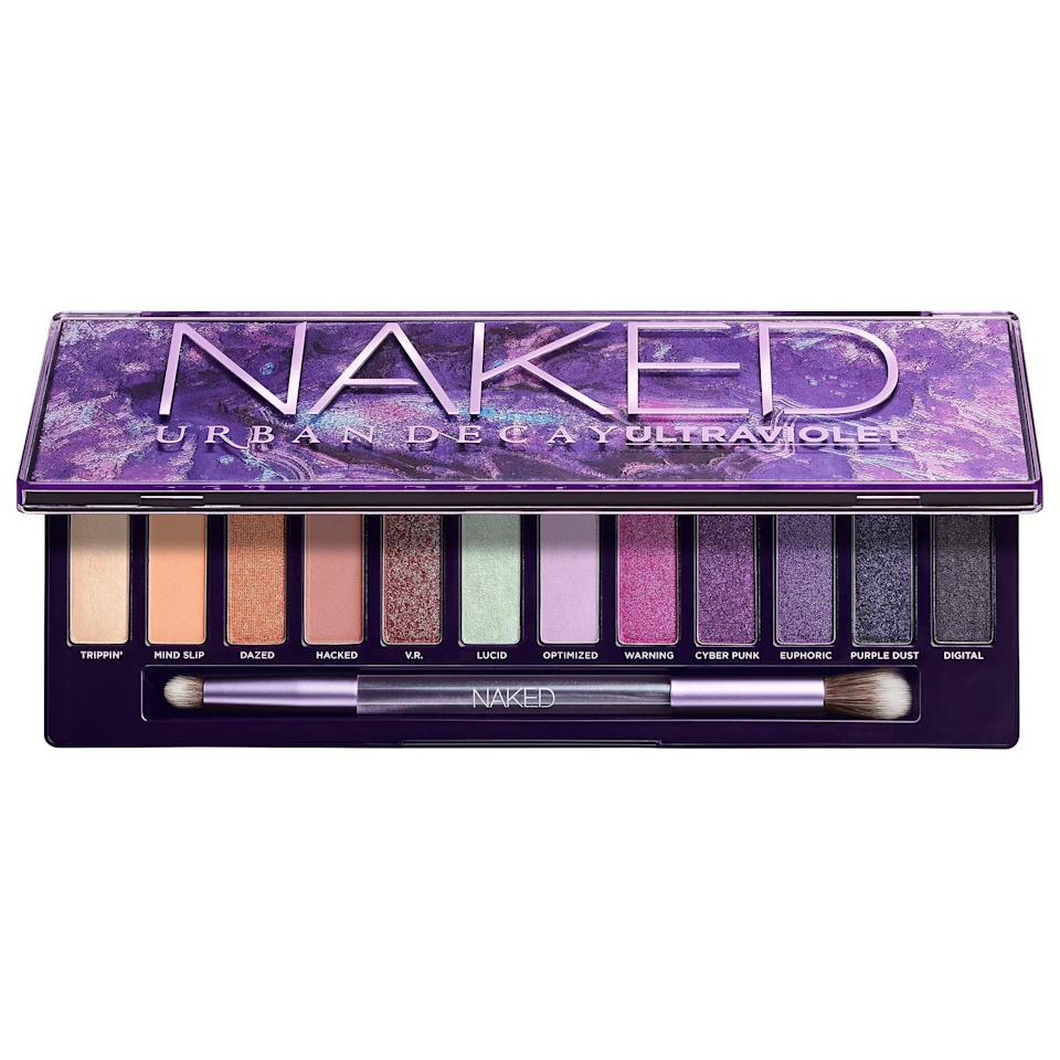 """<p>Go for a fun purple look with this <a href=""""https://www.popsugar.com/buy/Urban-Decay-Naked-Ultraviolet-Eyeshadow-Palette-584452?p_name=Urban%20Decay%20Naked%20Ultraviolet%20Eyeshadow%20Palette&retailer=sephora.com&pid=584452&price=49&evar1=bella%3Aus&evar9=47571081&evar98=https%3A%2F%2Fwww.popsugar.com%2Fbeauty%2Fphoto-gallery%2F47571081%2Fimage%2F47571369%2FUrban-Decay-Naked-Ultraviolet-Eyeshadow-Palette&list1=shopping%2Cmakeup%2Cbeauty%20products%2Csummer%2Csummer%20beauty%2Cbeauty%20shopping%2Cmakeup%20palettes%2Ceyeshadow%20palettes&prop13=api&pdata=1"""" class=""""link rapid-noclick-resp"""" rel=""""nofollow noopener"""" target=""""_blank"""" data-ylk=""""slk:Urban Decay Naked Ultraviolet Eyeshadow Palette"""">Urban Decay Naked Ultraviolet Eyeshadow Palette </a> ($49).</p>"""