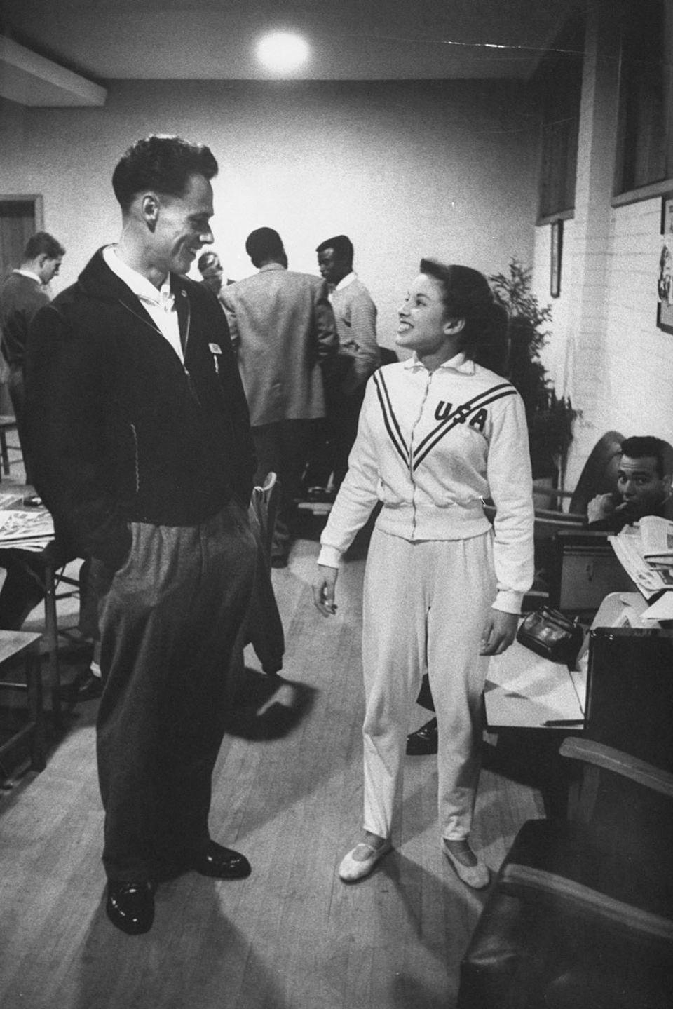 <p><em>Muriel Davis </em><br></p><p>In the 1950s, everyone wore their pants up around their armpits. Even their track pants. </p>