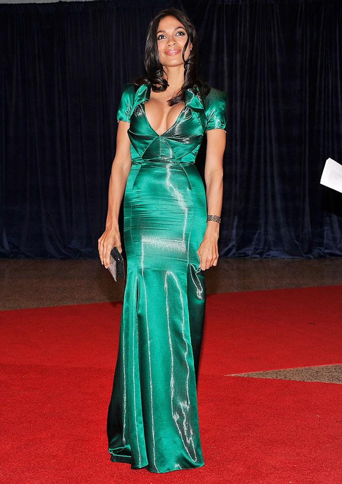 "<p class=""MsoNormal"">Rosario Dawson rocked an eye-popping low-cut emerald gown for the fete. The actress, who also attended the D.C. event last year, was invited by Atlantic Media.</p>"
