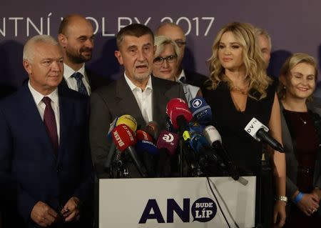 The leader of ANO party Andrej Babis speaks during a news conference at the party's election headquarters after the country's parliamentary elections in Prague, Czech Republic October 21, 2017. REUTERS/David W Cerny