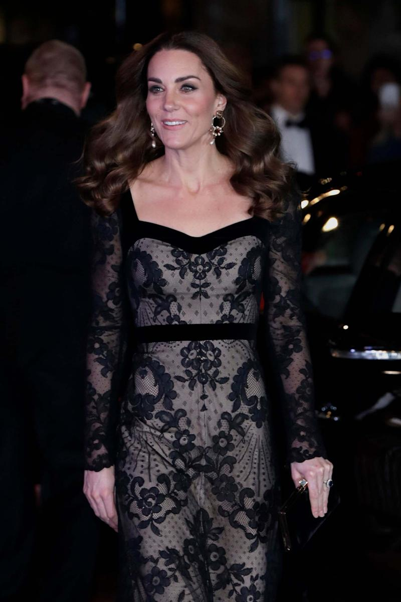 The Duchess braved the cold weather in her Alexander McQueen gown (Getty Images)