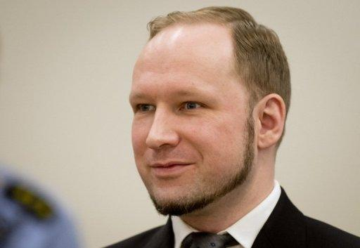 "Self confessed mass murderer Anders Behring Breivik arrives in court room 250 at the central court Oslo on August 24. An Oslo court on Friday found Breivik guilty of ""acts of terror"" and sentenced him to 21 years in prison for his killing spree last year that left 77 people dead"