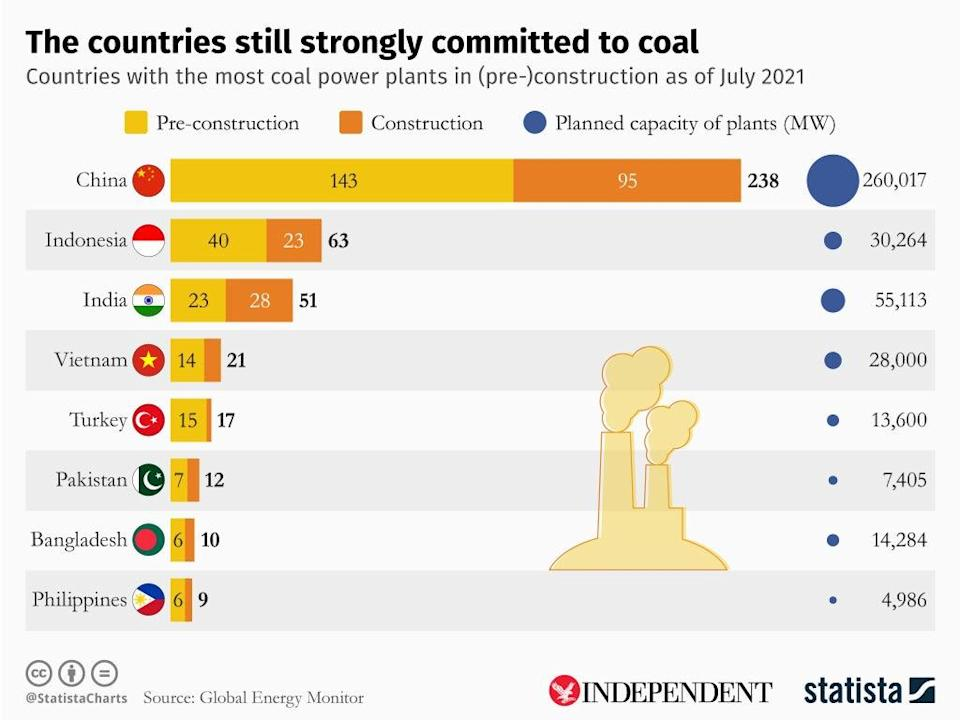 This graphic provided by Statista shows India's heavy dependence on coal (Statista)