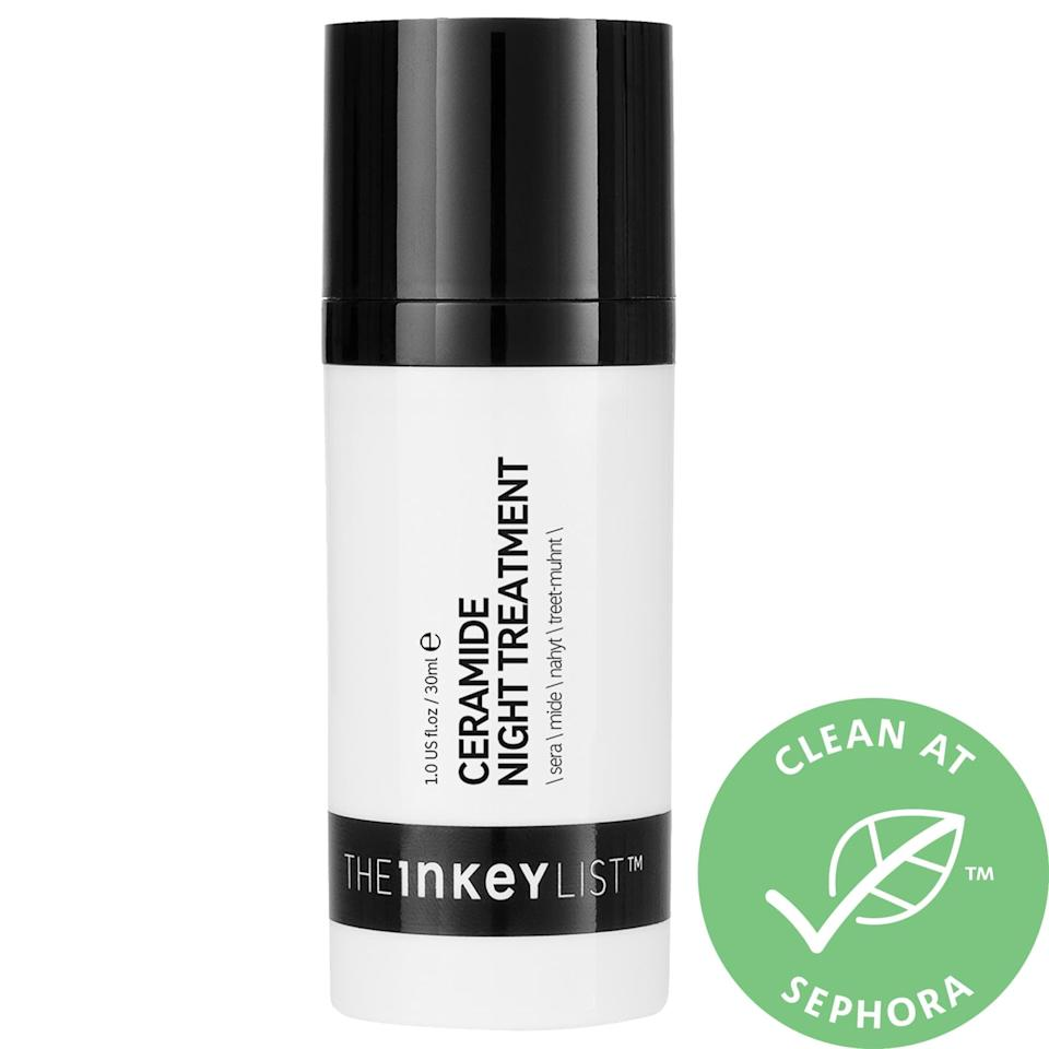"<p>The multi-ceramide complex in <a href=""https://www.popsugar.com/buy/Inkey-List-Ceramide-Hydrating-Night-Treatment-582101?p_name=The%20Inkey%20List%20Ceramide%20Hydrating%20Night%20Treatment&retailer=sephora.com&pid=582101&price=15&evar1=bella%3Aus&evar9=47550611&evar98=https%3A%2F%2Fwww.popsugar.com%2Fbeauty%2Fphoto-gallery%2F47550611%2Fimage%2F47550630%2FInkey-List-Ceramide-Hydrating-Night-Treatment&list1=sephora%2Cthe%20inkey%20list&prop13=mobile&pdata=1"" class=""link rapid-noclick-resp"" rel=""nofollow noopener"" target=""_blank"" data-ylk=""slk:The Inkey List Ceramide Hydrating Night Treatment"">The Inkey List Ceramide Hydrating Night Treatment</a> ($15) forms a protective layer so less moisture is lost overnight and skin is left supple and hydrated come morning.</p>"