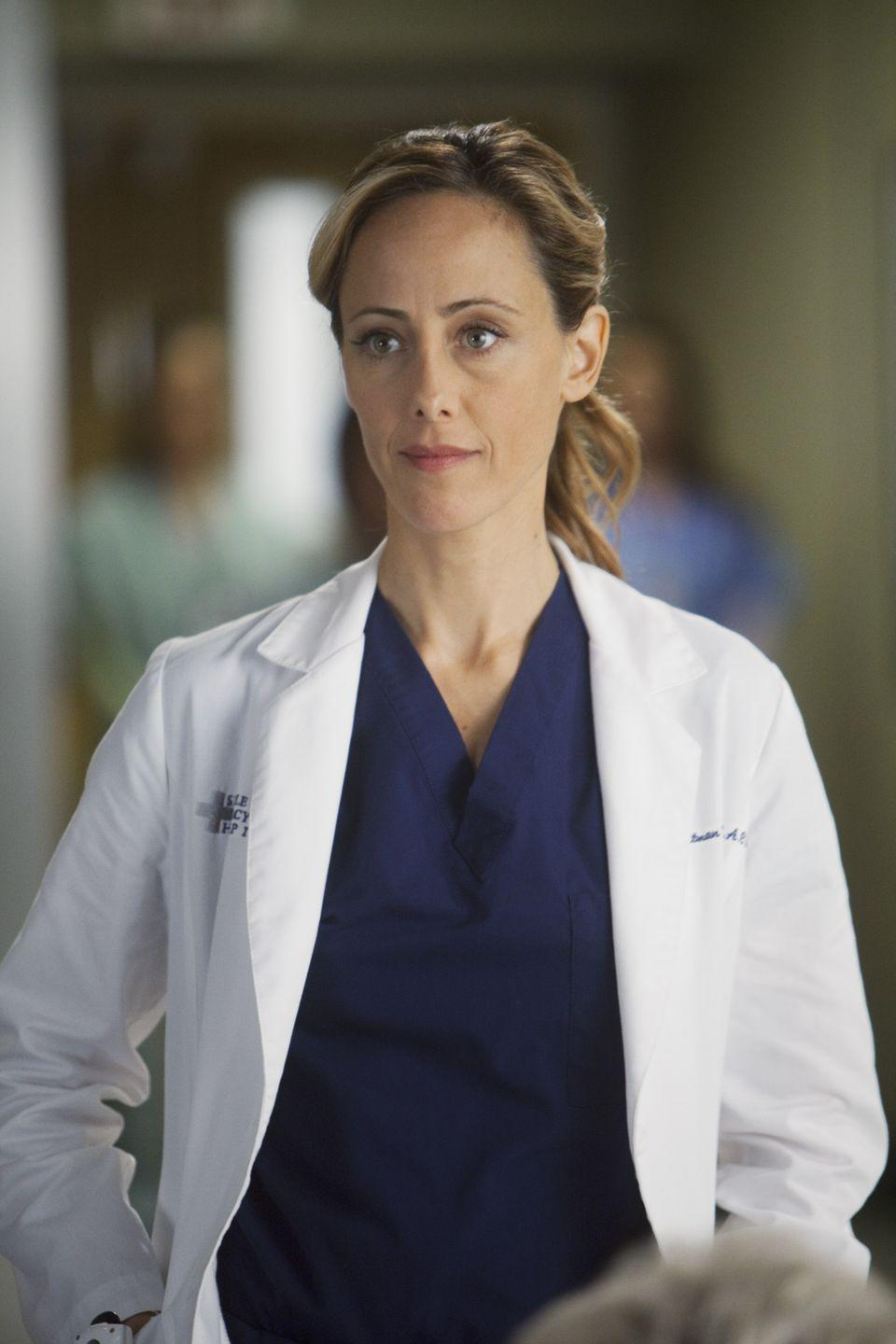 <p>Raver's character left in season 8, when Hunt fired her to force her into taking her dream job at MEDCOM. </p>