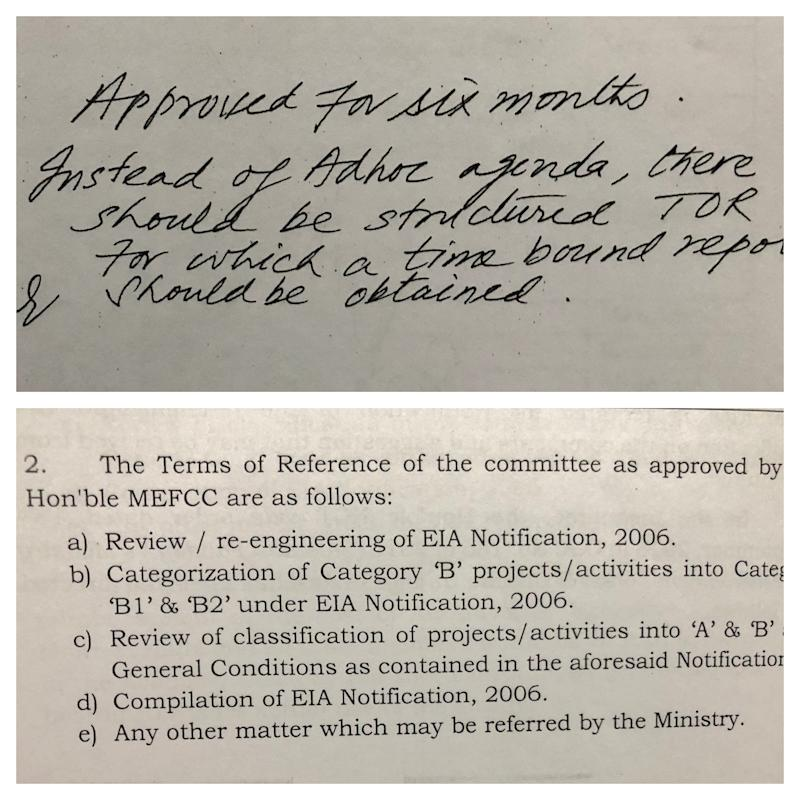 """(Above) Dr Harshvardhan, the then union environment minister, asking officials to prepare """"structured ToR"""" (Terms of Reference) for the Dr SR Wate committee on 11 April 2018. (Below) An example of the specific Terms of Reference assigned to the Dr S R Wate committee at the direction of Harshvardhan. (Photo: HuffPost India)"""
