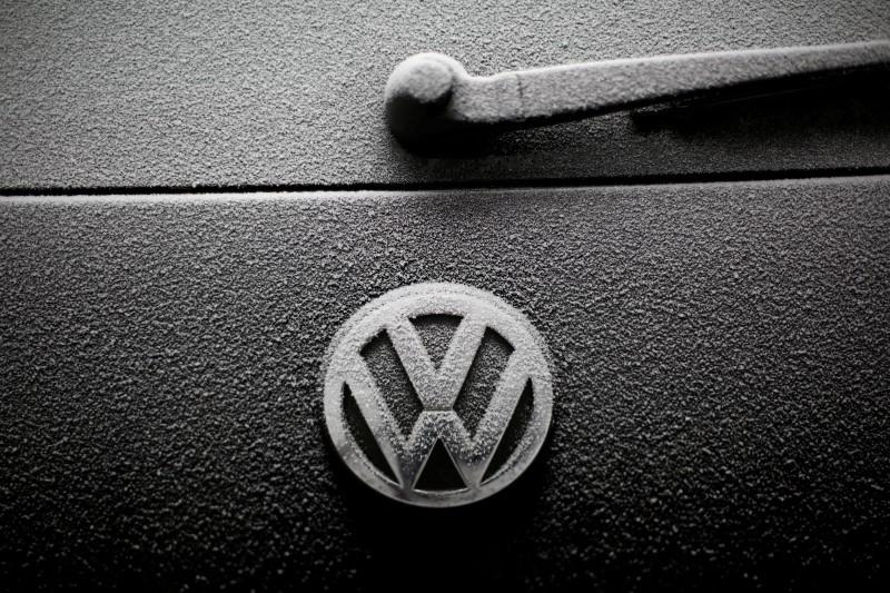 Snowflakes are seen on the badge of a Volkswagen car in Warsaw