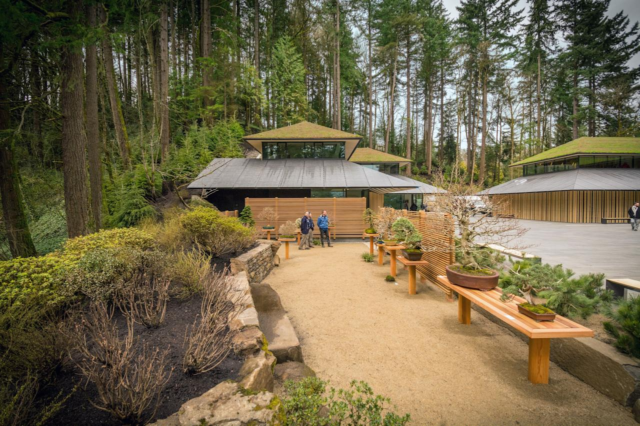 """The Portland Japanese Garden is home to a three-structure Cultural Village, designed by Japanese architect Kengo Kuma, who is also spearheading the national stadium for the 2020 Tokyo Olympics. The garden features a new courtyard serving as a venue for performances and events, three LEED-certified buildings, a library, classrooms, and a tea café. <a rel=""""nofollow"""" href=""""https://japanesegarden.org/"""">For more information, visit the website.</a>"""