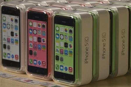 Apple iPhone 5c phones are pictured at the Apple retail store on Fifth Avenue in Manhattan, New York
