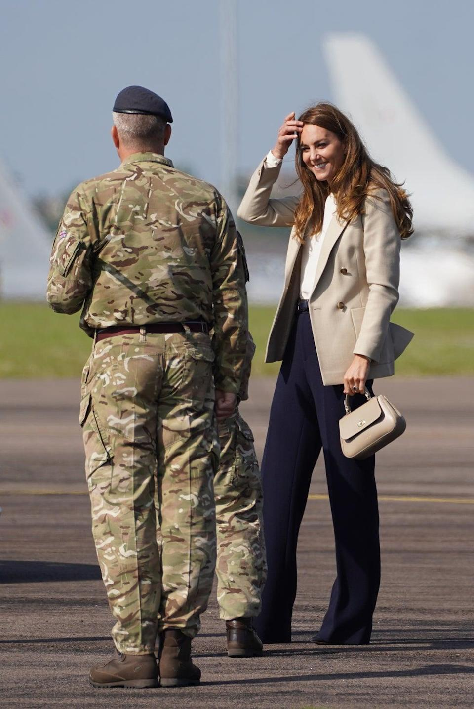 The Duchess of Cambridge arrives for a visit to RAF Brize Norton (Steve Parsons/PA) (PA Wire)