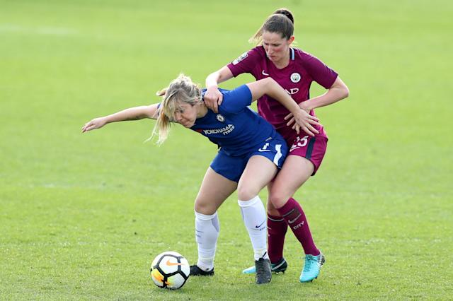 Soccer Football - Women's FA Cup Semi Final - Chelsea vs Manchester City - The Cherry Red Records Stadium, London, Britain - April 15, 2018 Chelsea's Gemma Davison in action with Manchester City's Abbie McManus Action Images/Peter Cziborra
