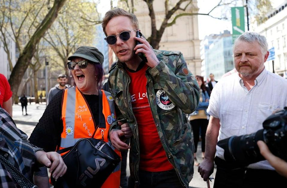 <p>Laurence Fox on the campaign trail in April</p> (Getty)