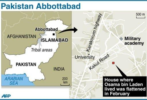 Map locating Abbottabad in Pakistan where Osama bin Laden was killed last year