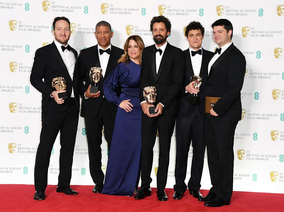 The 'Spider-Man: Into the Spider-Verse' team won for Best Animated Film at the 2019 BAFTAs. (Photo by David M. Benett/Dave Benett/Getty Images)