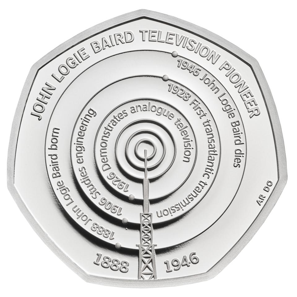 EMBARGOED TO 0001 MONDAY JANUARY 04 Undated handout photo issued by the Royal Mint of a new 50p coin commemorating the life and work of John Logie Baird which is part of a range of new designs that will be appearing on British coins throughout 2021.