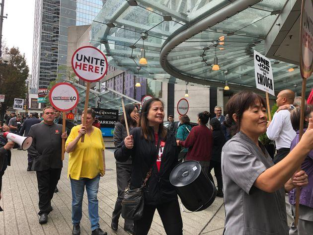 Workers from the Hyatt Regency Vancouver participate in a picket action on Friday, Sept. 13.