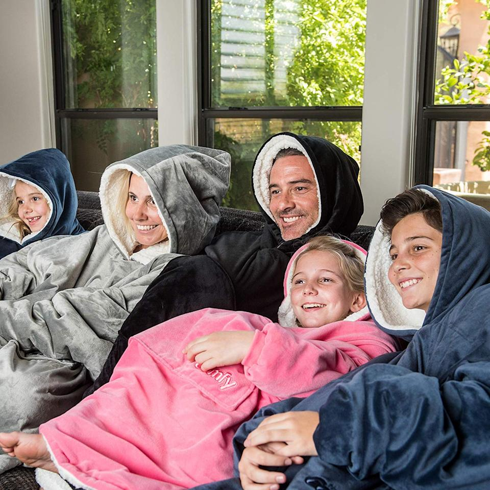Torn between wearing a sweatshirt or using a blanket? Do both at once with  this hilarious Blanket Sweatshirt