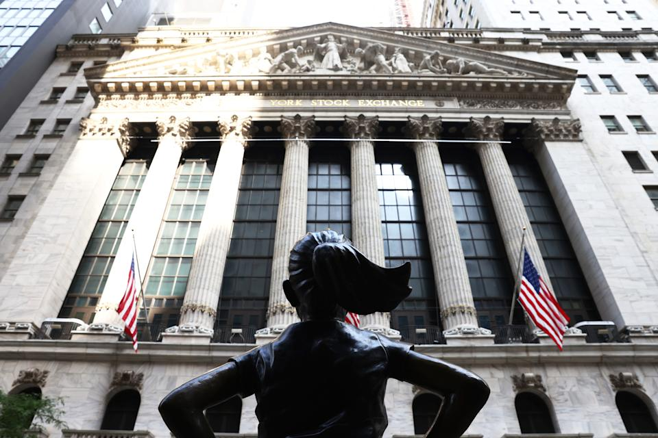 "NEW YORK, NEW YORK - JULY 23: The ""Fearless Girl"" statue in front of the New York Stock Exchange (NYSE) at Wall Street on July 23, 2020 in New York City. On Wednesday July 22, the market had its best day in 6 weeks. (Photo by Michael M. Santiago/Getty Images)"