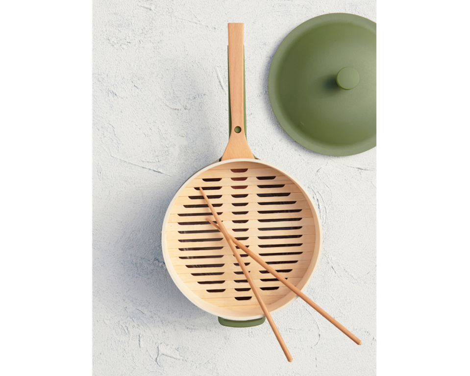"""<h2>Our Place Spruce Steamers</h2><br>Or, if they already own the cult-favorite Always Pan, surprise them with Our Place's most recent sustainable-chic cookware drop: a set of bamboo Spruce Steamers. The new accessory comes complete with a pair of bamboo cooking chopsticks, 25 paper liners, and a natural loofah sponge — so they can whip up, eat up, and then clean up a big pot of steamed dumplings.<br><br><em><strong><a href=""""https://fromourplace.com/products/spruce-steamers"""" rel=""""nofollow noopener"""" target=""""_blank"""" data-ylk=""""slk:Shop Ourplace"""" class=""""link rapid-noclick-resp"""">Shop Ourplace</a></strong></em><br><br><strong>Our Place</strong> Spruce Steamers (Set of 2), $, available at <a href=""""https://go.skimresources.com/?id=30283X879131&url=https%3A%2F%2Ffromourplace.com%2Fproducts%2Fspruce-steamers"""" rel=""""nofollow noopener"""" target=""""_blank"""" data-ylk=""""slk:Our Place"""" class=""""link rapid-noclick-resp"""">Our Place</a>"""
