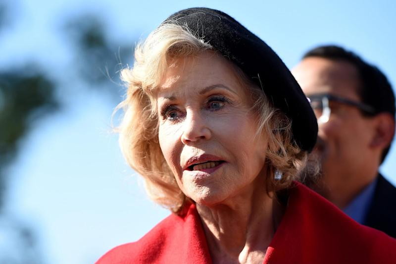 Jane Fonda speaks outside the US Capitol during a climate change protest on October 18 2019 in Washington, DC: OLIVIER DOULIERY/AFP via Getty Images