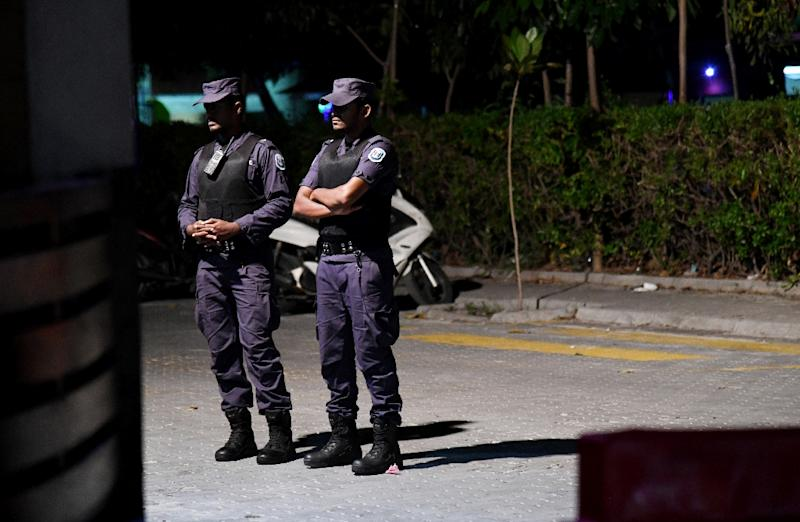 Security forces have barricated the office of the main opposition, the Maldivian Democratic Party (AFP Photo/STR)