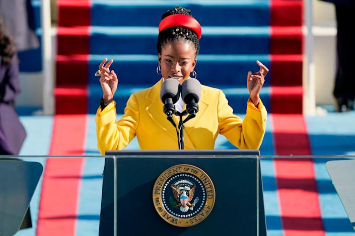 Poet Amanda Gorman reads her poem during the 59th presidential inauguration at the U.S. Capitol on Wednesday. (Photo: PATRICK SEMANSKY/POOL/AFP via Getty Images)