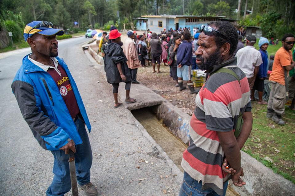 Crowds gather for Covid testing in rural Papua New Guinea.