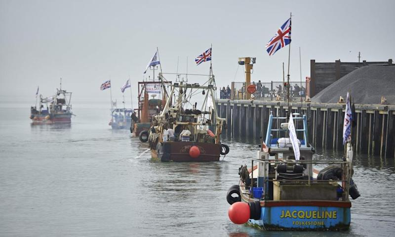 Boats gather in Whitstable to protest a Brexit transition deal that would see Britain continue to adhere to the Common Fisheries Policy after leaving the EU