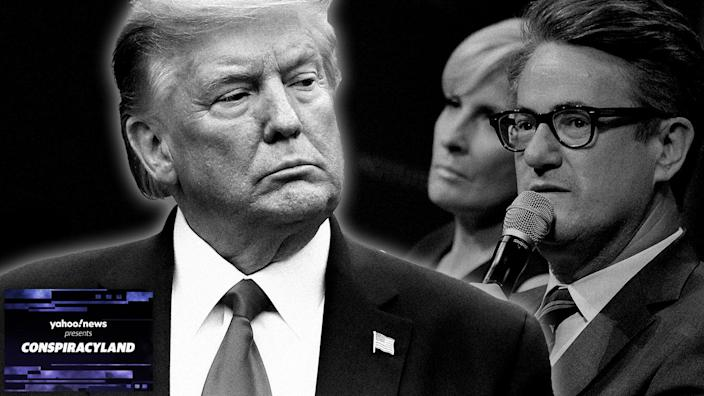 President Trump, Mika Brzezinski and Joe Scarborough. (Photo illustration: Yahoo News; photos: AP, Shannon Finney/WireImage via Getty Images)