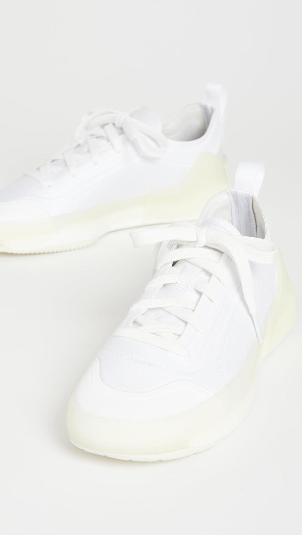 """<p>""""A pair of cool white sneakers is always fun to shop for. This season I want something a little big sporty and still cute enough to wear out. The <span>adidas by Stella McCartney Asmc Treino Sneakers</span> ($180) caught my eye with its cool silhouette and fun sole."""" - KJ</p>"""