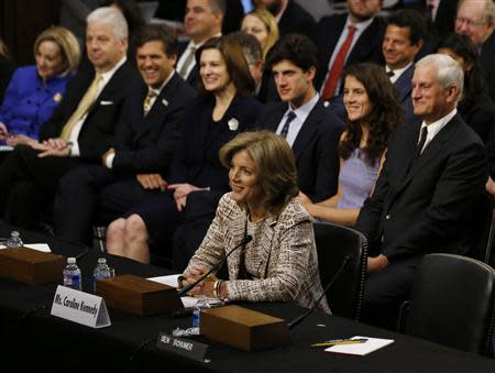 Caroline Kennedy (front), daughter of former U.S. President John F. Kennedy, testifies at her U.S. Senate Foreign Relations Committee hearing on her nomination as the U.S. Ambassador to Japan, on Capitol Hill in Washington, September 19, 2013. REUTERS/Jason Reed