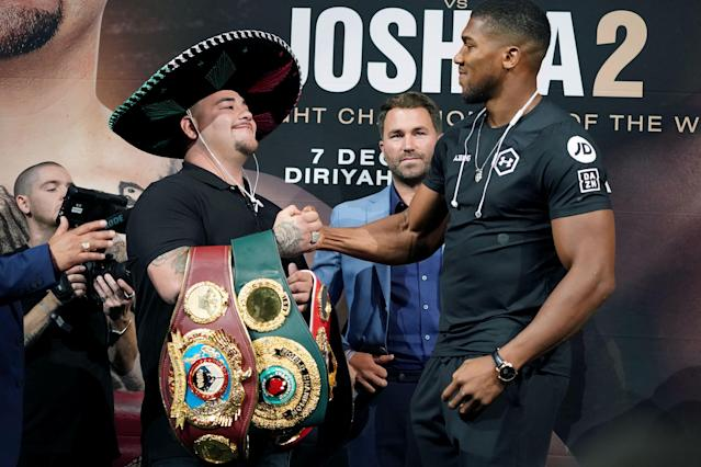 Heavyweight champion Andy Ruiz Jr. shakes hands with contender Anthony Joshua at a press conference for Ruiz vs. Joshua 2 at Capitale in New York on on Sept. 5, 2019. (Bryan R. Smith/AFP/Getty Images)