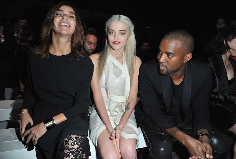 PARIS, FRANCE - SEPTEMBER 30: (L-R) Carine Roitfeld, Sky Ferreira and Kanye West attends the Givenchy Spring / Summer 2013 show as part of Paris Fashion Week on September 30, 2012 in Paris, France. (Photo by Pascal Le Segretain/Getty Images)