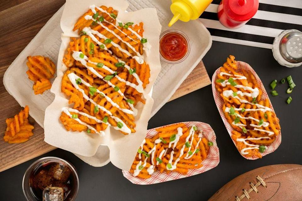 """<p>The four magic words: buffalo, ranch, waffle, and fries.</p><p>Get the recipe from <a href=""""https://www.delish.com/cooking/recipe-ideas/recipes/a45745/buffalo-ranch-waffle-fries/"""" rel=""""nofollow noopener"""" target=""""_blank"""" data-ylk=""""slk:Delish"""" class=""""link rapid-noclick-resp"""">Delish</a>.</p>"""