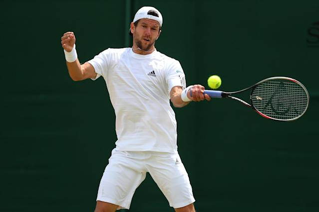 LONDON, ENGLAND - JULY 01: Jurgen Melzer of Germany plays a forehand during the Gentlemen's Singles fourth round match against Jerzy Janowicz of Poland on day seven of the Wimbledon Lawn Tennis Championships at the All England Lawn Tennis and Croquet Club on July 1, 2013 in London, England. (Photo by Julian Finney/Getty Images)