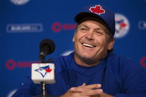 Manager John Gibbons attends a news conference before the Toronto Blue Jays practice session in Toronto on Monday April 1, 2013 as they prepare for their opening day of the new season. (AP Photo/The Canadian Press, Chris Young)