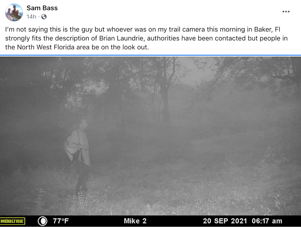 Authorities are looking in to a potential sighting of Brian Laundrie on a deer cam (Facebook / Sam Bass)